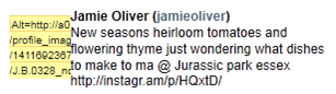Tweet from Jamie Oliver with a spacer GIF with a URL for an ALT attribute