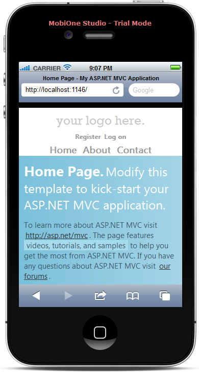 login page on mobile