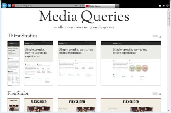screenshot of media queries fan site