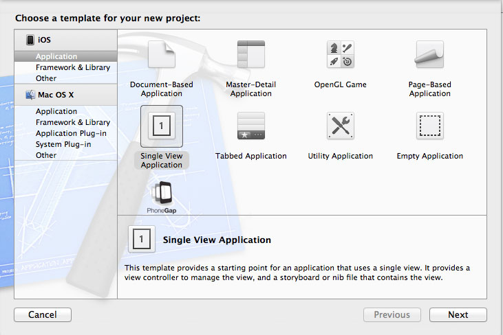 Create a new project in Xcode 4