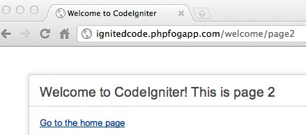 CodeIgniter with code updates on PHPFog