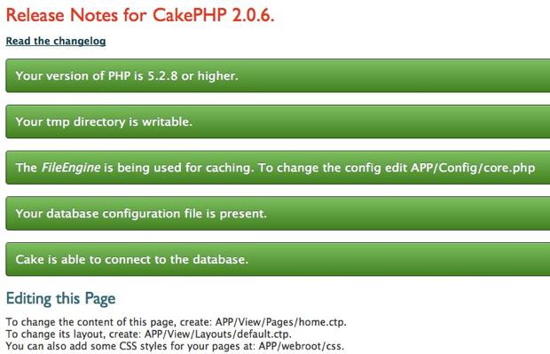 CakePHP installed