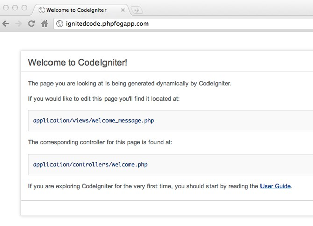 CodeIgniter up and running on PHPFog