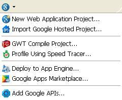 Google Menu in Eclipse after successful plugin installation