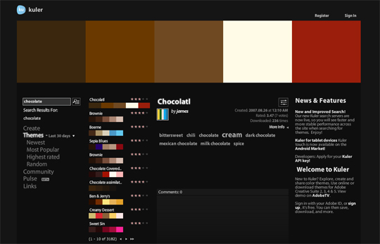 """Searching for """"chocolate"""" within Adobe Kuler"""