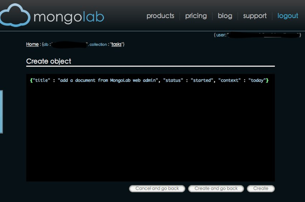 adding a document - MongoLab