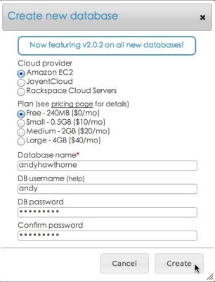 enter database info