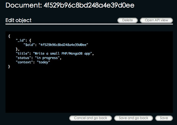 edit document at MongoLab