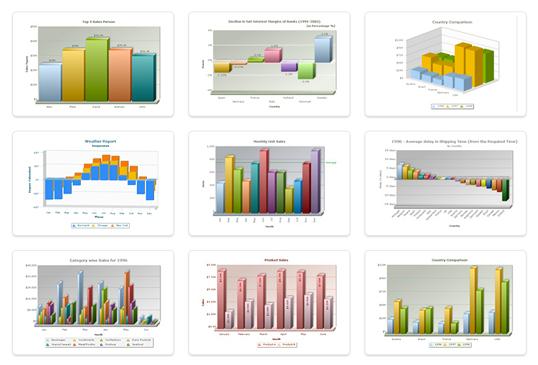 Nine different graphs using FusionCharts