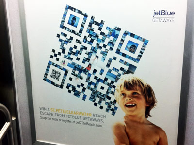 Four questions for qr code designers sitepoint a jetblue advertisement sciox Choice Image