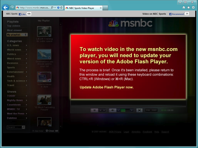 MSNBC download Flash message