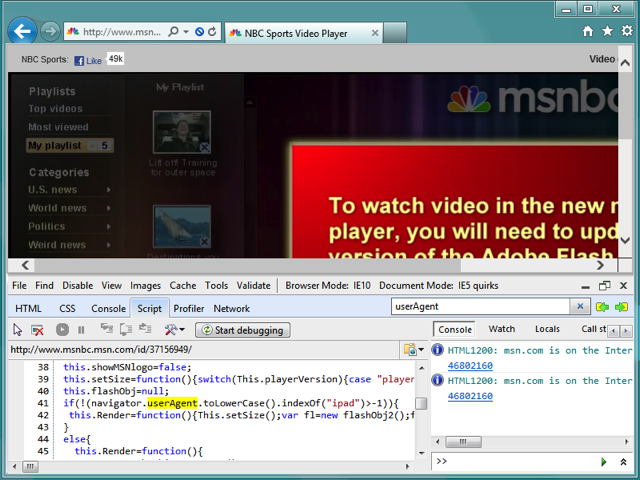 MSNBC download Flash message with Internet Explorer Developer Tools open