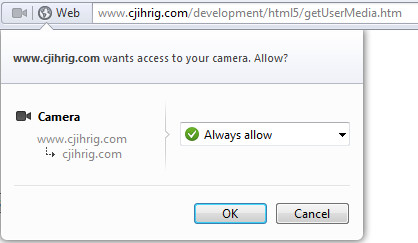 Opera Requesting Access to the User's Camera