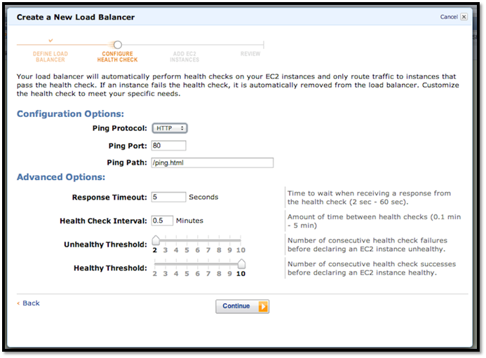 Load balancer health settings