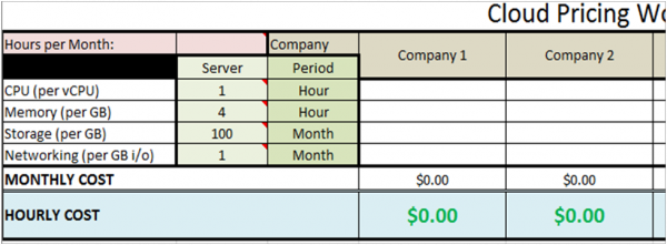 Pricing Worksheet example