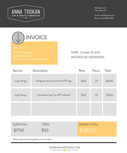 design an invoice that practically pays itself — sitepoint, Invoice examples
