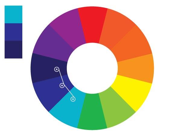 Использование аналогичных цветов поможет создать ощущение разнообразия в дизайне