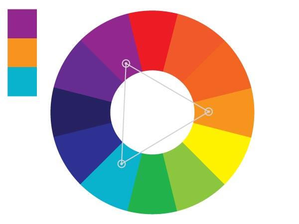 Используя триаду цветов можно добиться баланса и разнообразия цветового фона