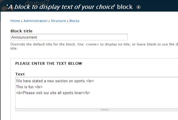 Configure the block