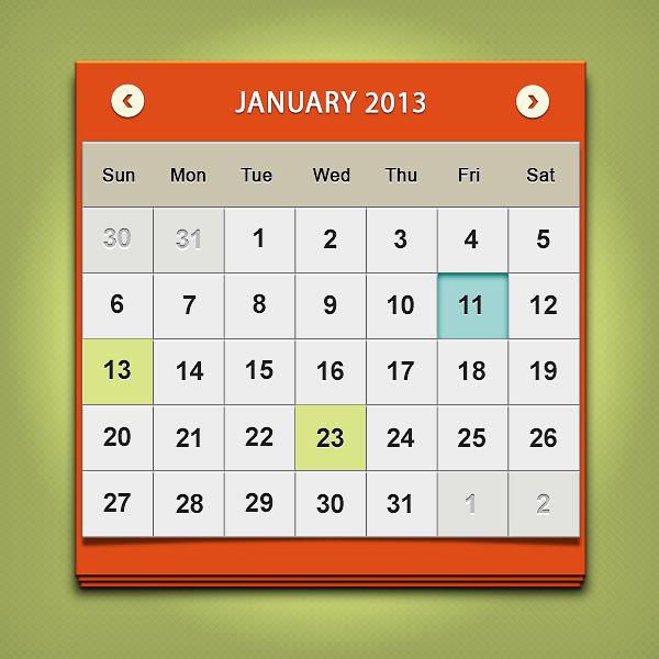 Calendar Design In Photo : Design a clean calendar ui in photoshop