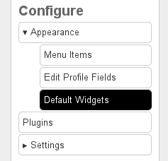 Configure default widgets for the dashboard