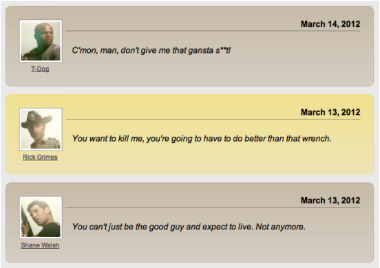 An example of a list of blog post comments with alternating styles