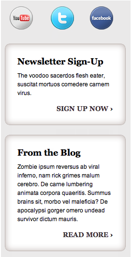 A sidebar with different content sections