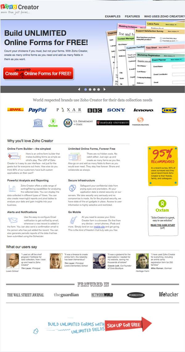 zoho-creator-landing page