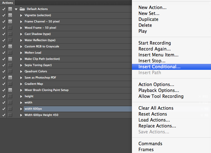 Photoshop Actions Conditional Photoshop Actions