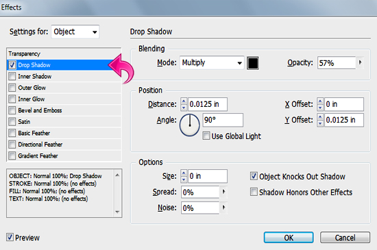 how to add drop shadow in indesign for text