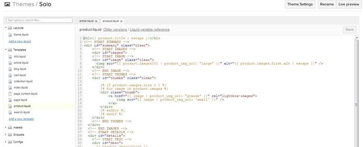 shopify html