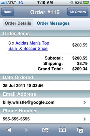 Order detail, courtesy of BigCommerce