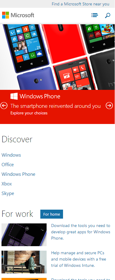 Microsoft.com as Designed for Mobile Phones