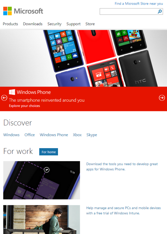 Microsoft.com After Exceeding 540 px