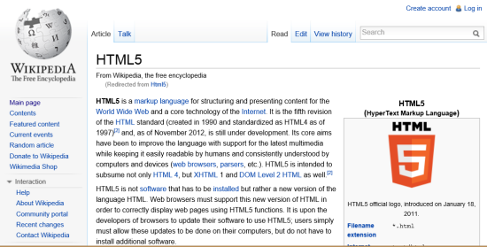 Wikipedia on a 800-px wide monitor