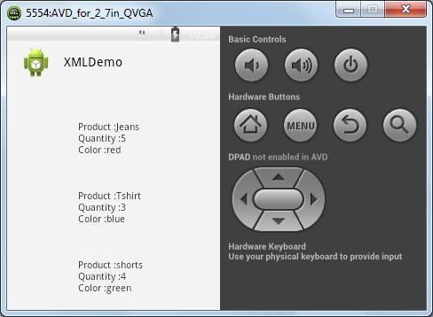 Android XMLDemo display