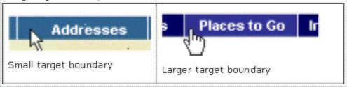 clickable areas