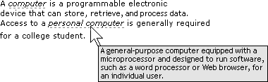 Figure 10.1. A styled dfn element with a title attribute and styled cursor