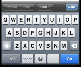 Figure 2. The email input type provides a specialized keyboard on iOS devices