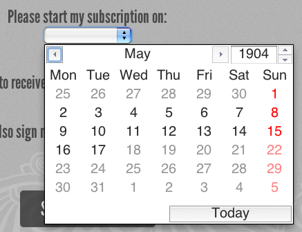 Figure 7. Opera's date picker for date, datetime, datetime-local, week, and month input types