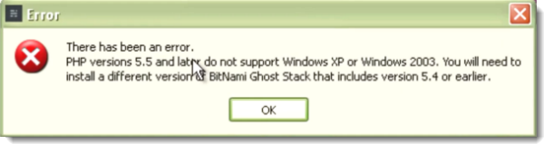 Bitnami ghost error in XP