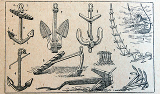 Pencil drawings of various marine anchors.