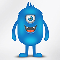 Blue one-eyed monster illustration