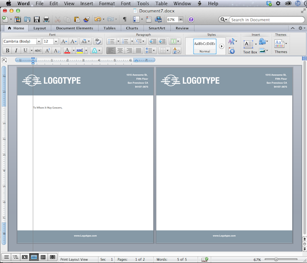 convert your design into a microsoft word letterhead