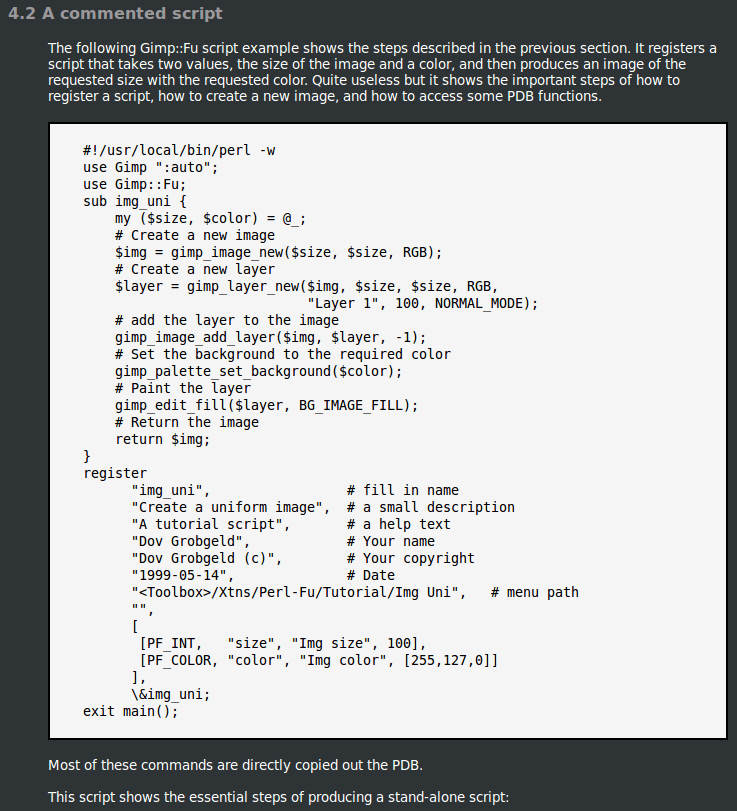 A screenshot of some GIMP scripting.