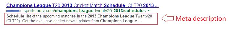 Meta tag description in search results