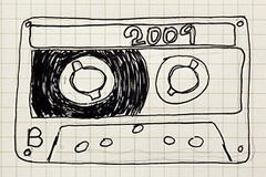 Hand sketch of a cassette tape