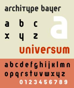 Bayer's industrial universum font.