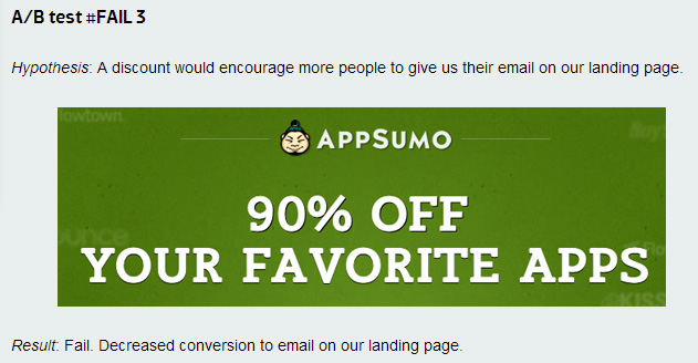 AppSumo Failed Test