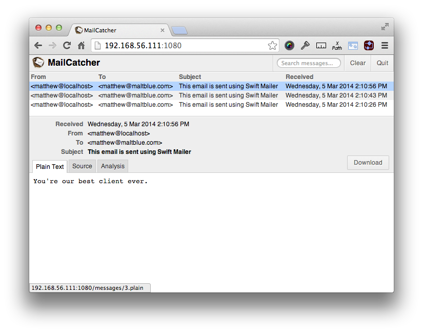 MailCatcher UI Showing Mail Content